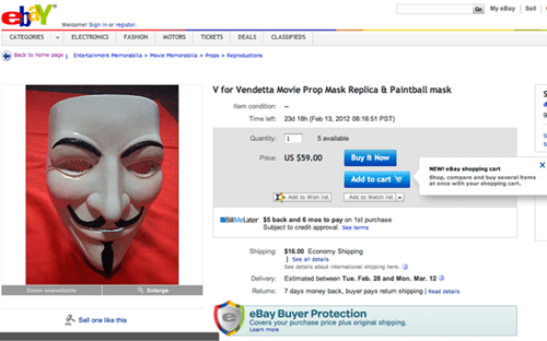 Guy Fawkes Paintball Mask of the Day