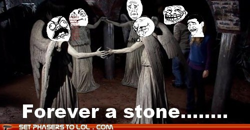 doctor who,forever alone,rage faces,stone,tardis,weeping angels