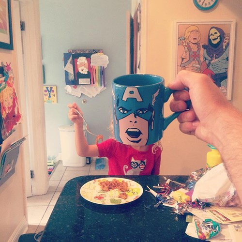Super Dad Turns Kids Into Superheroes With Coffee Mugs