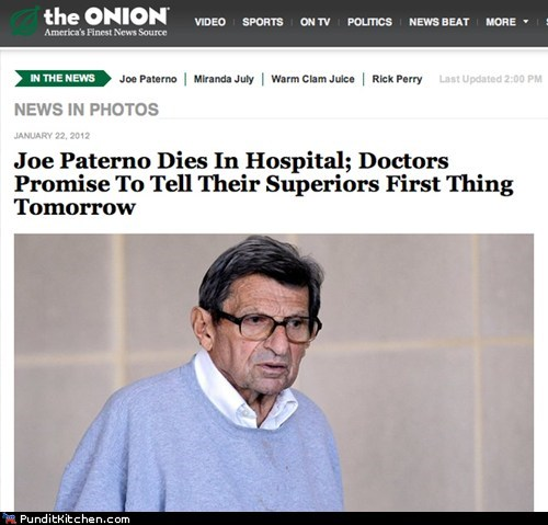 The Onion Weighs in on Joe Paterno's Death