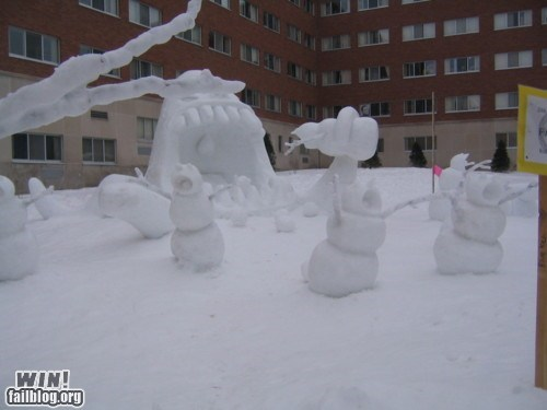 calvin and hobbes,g rated,monster,sculpture,snow,snowman,win,winter