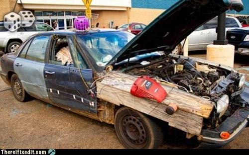 board,car,jack o lanterns,junk,plank