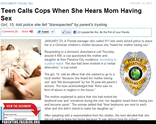 bottle up emotions,calling the cops,ignoring it,parents having sex,therapy