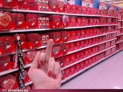 candy,dating fails,f you,hearts,love,the finger,Valentines day