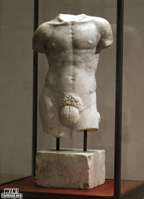 brain,bust,clever,dude parts,men,relationships,statue