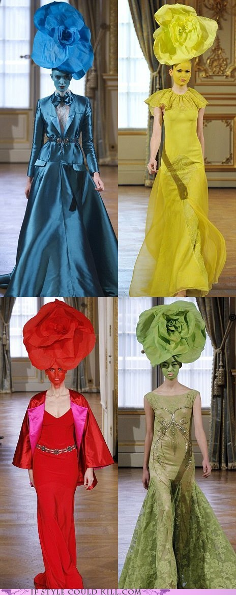 alexis mabille,cool accessories,flowers,hats,runway