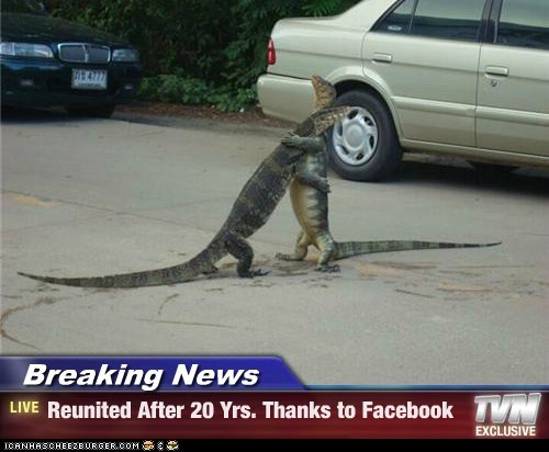 Breaking News - Reunited After 20 Yrs. Thanks to Facebook