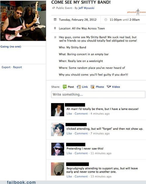 Failbook: Every Concert Invitation Ever