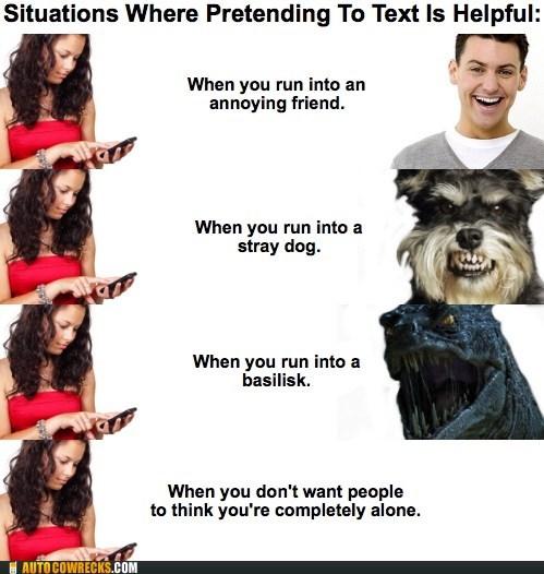 alone,annoying friend,basilisk,dogs,friend,pretending,text,texting