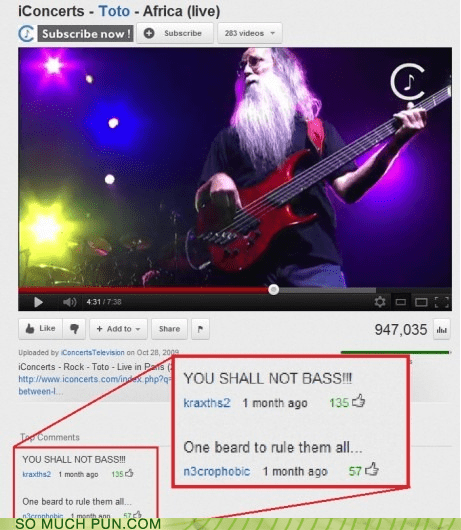 africa,bass,beard,gandalf,Hall of Fame,Lord of the Rings,one ring to rule them all,resemblance,similar sounding,toto,you shall not pass,youtube