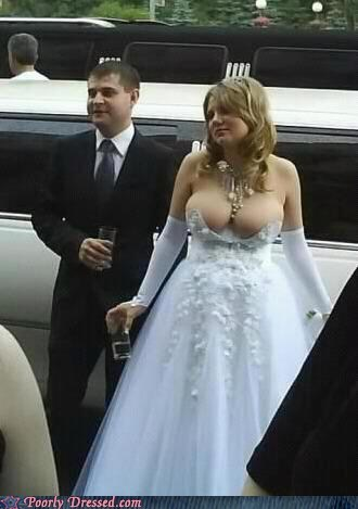 lots of cleavage,the happy bride,wedding dress