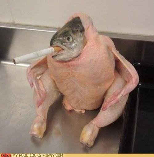 chicken,cigarette,costume,disguise,fish,head,raw
