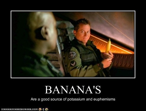 bananas,christopher judge,corin nemec,euphemisms,if you know what i mean,jonas quinn,potassium,Stargate,tealc