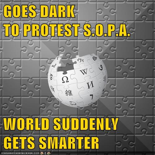GOES DARK                                TO PROTEST S.O.P.A.  WORLD SUDDENLY GETS SMARTER