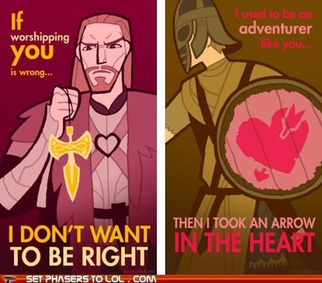 adventurer,arrow in the knee,heart,Skyrim,talos,the elder scrolls,valentines,Valentines day