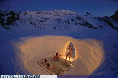 ice,igloo,pool party,snow,tundra,winter