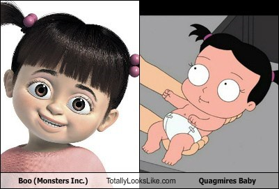 Boo (Monsters Inc.) Totally Looks Like Quagmire's Baby (Family Guy)