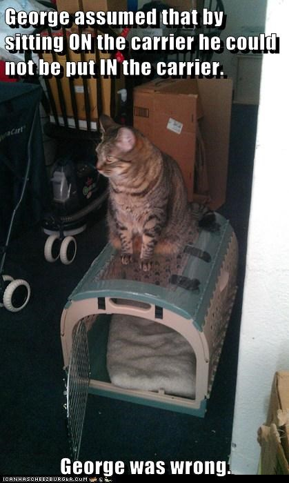George assumed that by sitting ON the carrier he could not be put IN the carrier.  George was wrong.