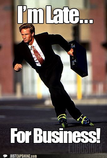 business,businessman,late,rollerblades,rollerblading,suit