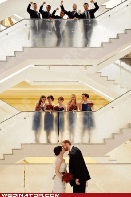 bride,bridesmaids,funny wedding photos,groom,Groomsmen,KISS,stairs