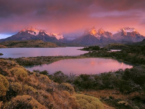 Chile,clouds,getaways,lake,mountains,national park,south america