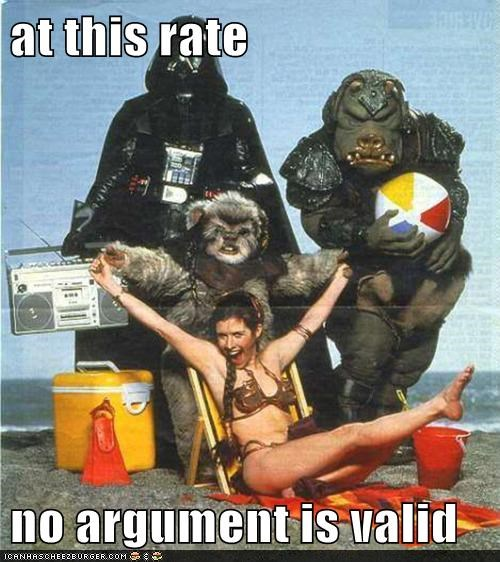 beach,darth vader,ewok,Princess Leia,star wars,wtf,your argument is invalid