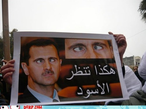 cross eyed,derp,protester,sign,syria