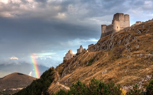 castle,clouds,getaways,rainbow,unknown location,wallpaper,wallpaper of the day