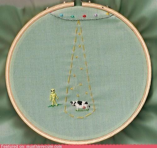 alien,cow,craft,needlepoint,sewing,stitching,ufo
