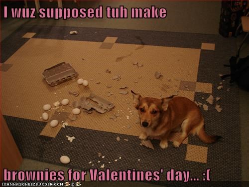 I wuz supposed tuh make  brownies for Valentines' day... :(