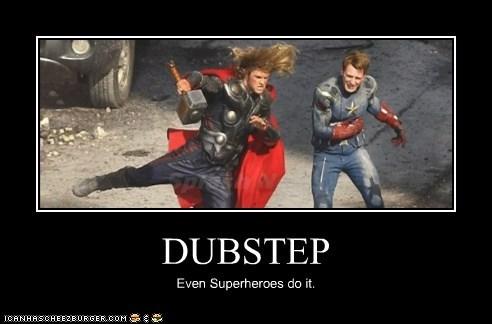 avengers,chris evans,chris hemsworth,dancing,dubstep,superheroes