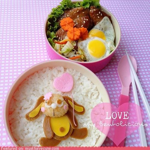 balloon,bento,bunny,eggs,epicute,fishcake,rice,tofu