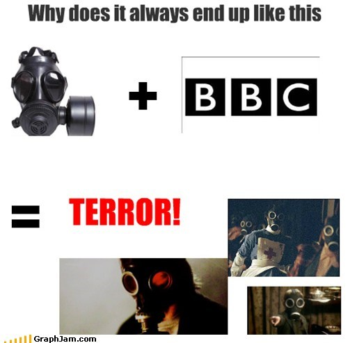 bbc,doctor who,equation,gas masks,scary