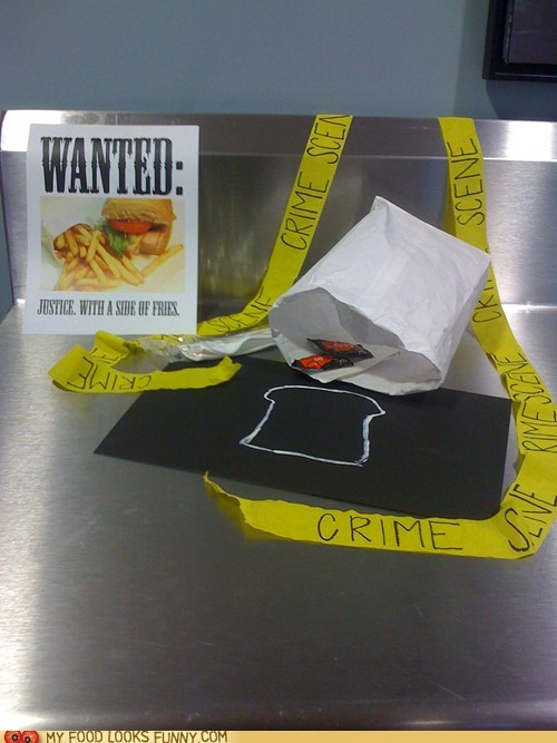 chalk outline,crime scene,sandwich,sign,stolen,tape,wanted