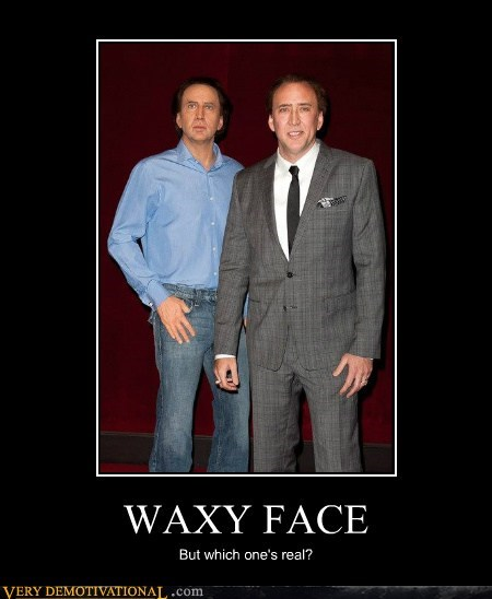 hilarious,look alike,nicolas cage,wax statue