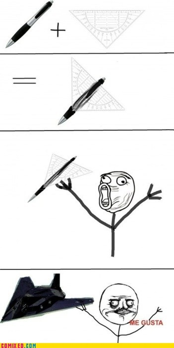 me gusta,paper airplane,pen,rage faces,stealth,the internets
