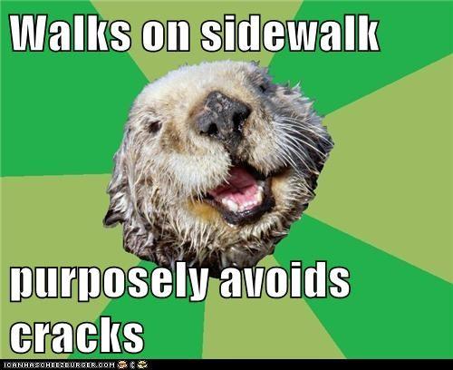cracks,dont-step-on-the-cracks,Memes,moms,mothers day,ocd,OCD Otter,otters