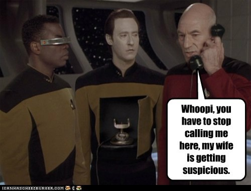 brent spiner,calling,Captain Picard,data,Geordi Laforge,patrick stewart,phone,Star Trek,whoopi goldberg