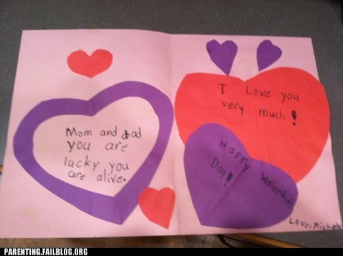 creepy cards,lucky to be alive,Valentines day