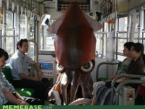 bus,costume,mass tranist,octopus,squid,wtf