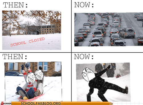 commute,memories,rage comic,sledding,snow day,Then And Now,traffic