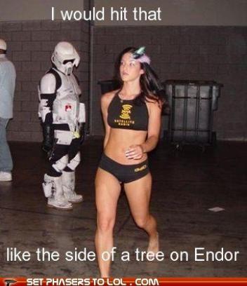bikini,endor,hot girl,id-hit-it,star wars,Staring,stormtrooper,tree