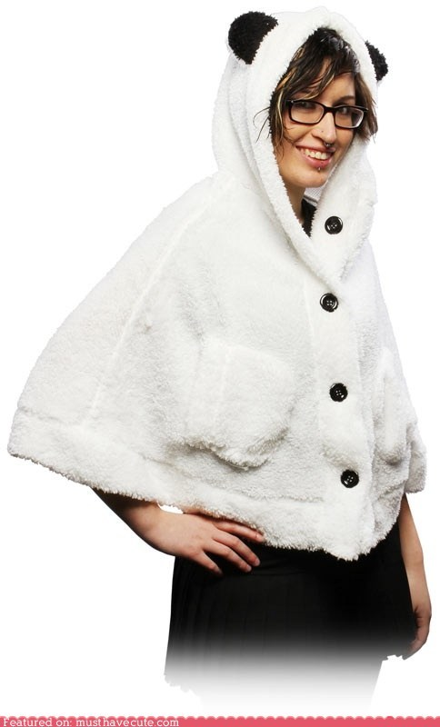 apparel,cape,ears,hood,panda,pockets