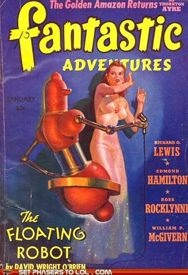 adventures,book covers,books,cover art,disgusted,fantastic,floating,magazine,robot,science fiction,wtf