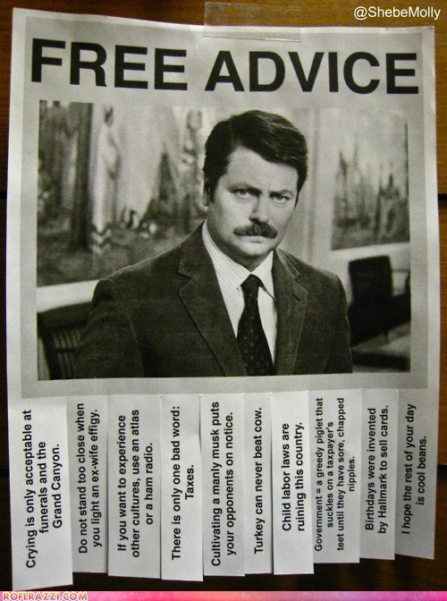 Free Advice, Courtesy of Ron Swanson
