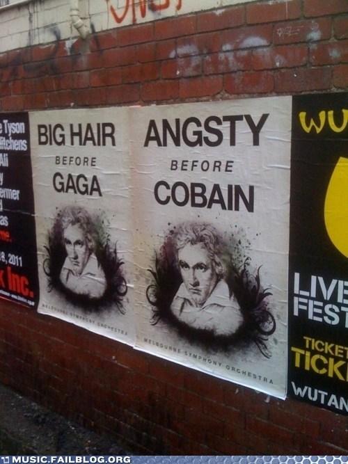 Beethoven,classical,cobain,flyer,kurt cobain,lady gaga,nirvana,poster