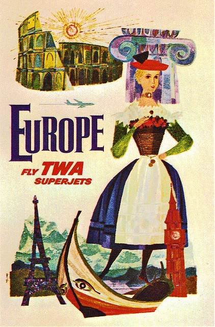 TWA Superjets to Europe Vintage Travel Poster