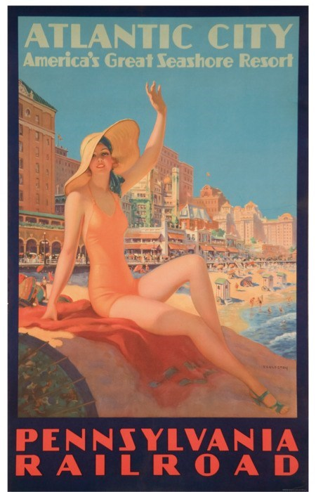 Atlantic City via the Pennsylvania Railroad Vintage Poster