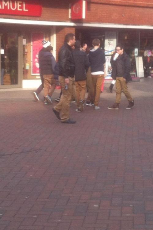 black,converse,gang,jacket,khakis,northface,white