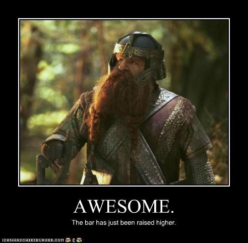 awesome,bar,dwarf,gimli,john rhys-davies,Lord of the Rings,raised